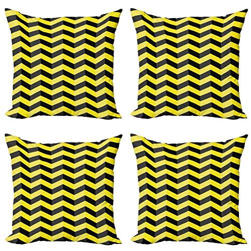 ABAKUHAUS Chevron Amarillo Set de 4 Fundas para Cojín, Señal de Advertencia, Estampado Digital en Ambos Lados y Cremallera, 45 cm x 45 cm, Amarillo Negro