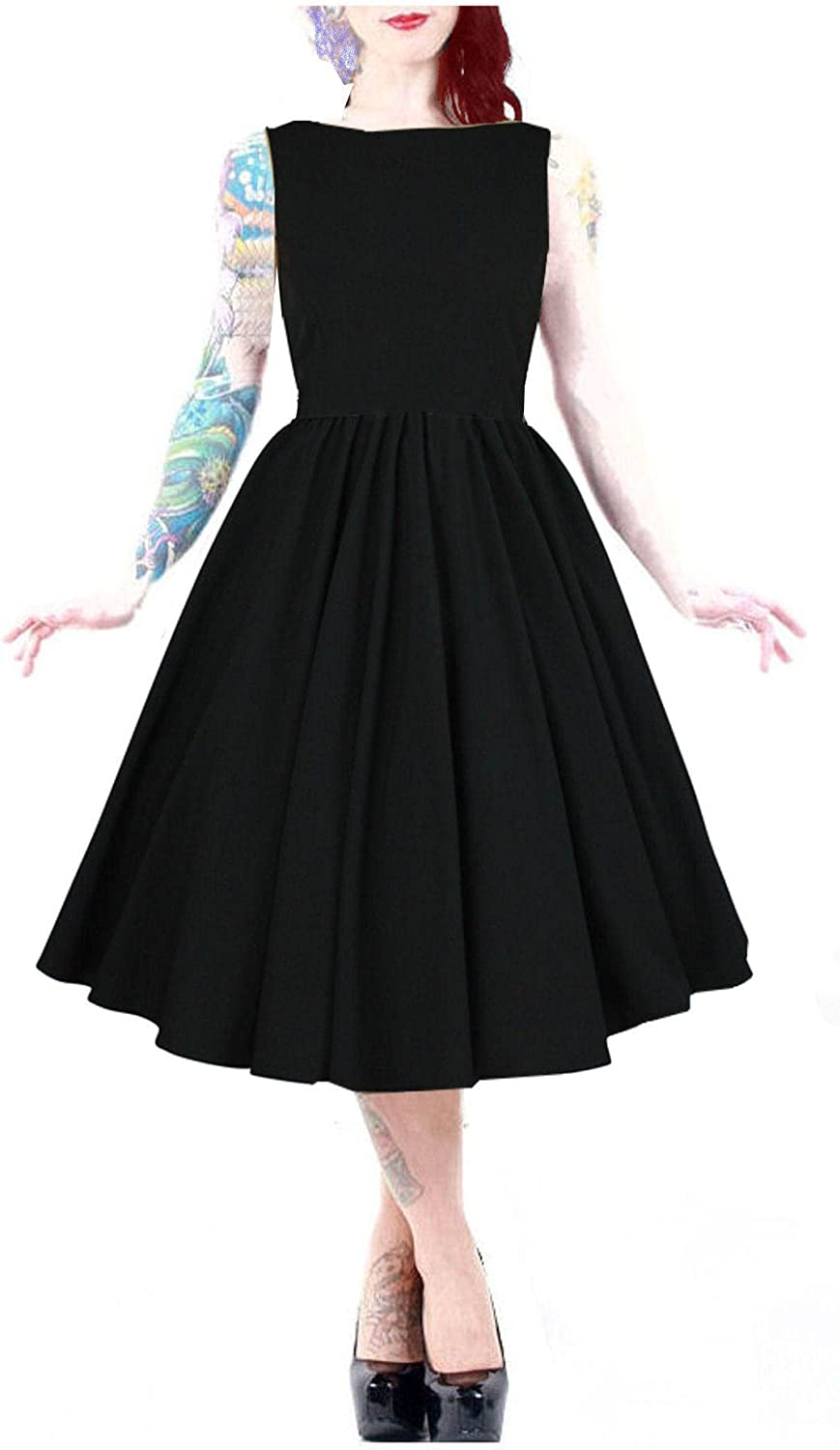 DangerousFX 50's Flare Black Flattering Boat Neck Swing Dress 1018