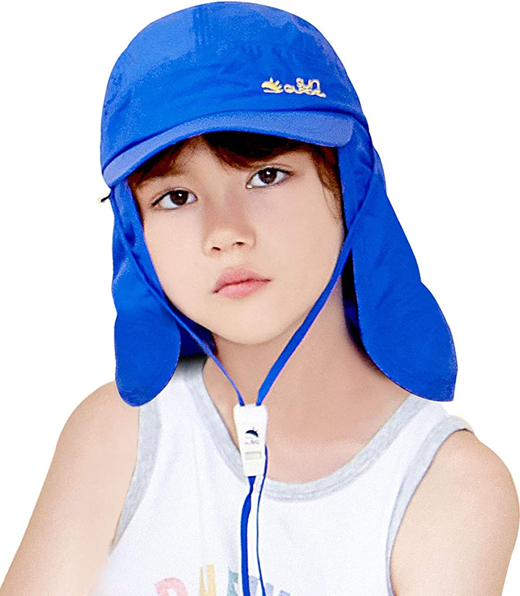 Kids Sun Baseball Cap with Neck Flap, Sun Protection UPF50+, Whistle cordlock, for Boys and Girls