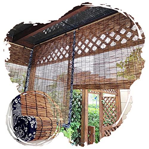 JIcloun Estores Enrollable Persianas De Bambu, Retro Bambú Sombra Enrollable Persianas De Caña Natural Cortinas Romanas para Exterior/Interior/Tamaño Personalizado/Marrón