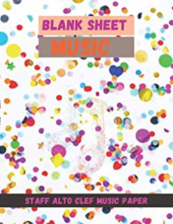Blank Sheet Music Staff Alto Clef Music Paper, Colorful paper foil confetti isolated white cover, 100 pages - Large(8.5 x ...