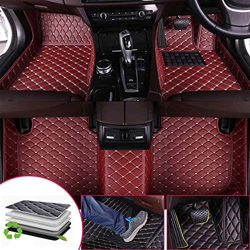 Tuqiang Auto-Fußmatten Leder Passt für M ITSUBISHI Pajero 1993-2002 3D-Volldeckung Wasserdichte Bodenmatten Automatten Rotwein (Rechtslenker geeignet)