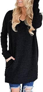 Womens Casual V-Neck Long Sleeves Sweatshirt Tunics Blouse Tops with Pocket