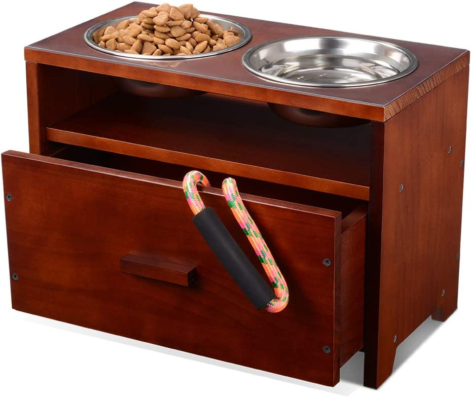Elevated Dog Bowl Raised Pet Feeder Stand Upgraded Wooden Dog Feeding Station with Storage Drawer for Medium LargePets with 2 Stainless Bowls and Waterproof Pad (Need Assemble)