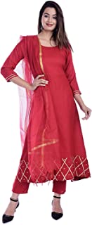 EXPORTHOUSE Women Royan Salwar Suit with Plazzo 3/4 Sleeve Round Neck Solid Plain Kurti with Doria Dupatta -(Maroon Color)