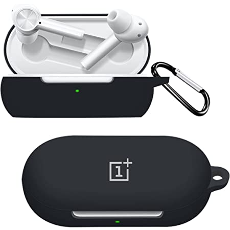 Printme™ Silicone Protective Case Cover for OnePlus Earbuds Z TWS, Anti Fall Anti Dust, with Hook Earphone Case *Case Cover only* (Black)