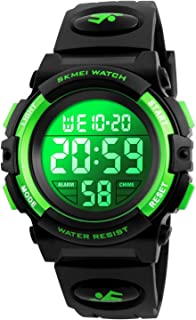 Kids Digital Sport Watch Boys Waterproof Casual Electronic Analog Quartz 7 Colorful Led Watches with Alarm Wrist Watches for Boy Girls Children