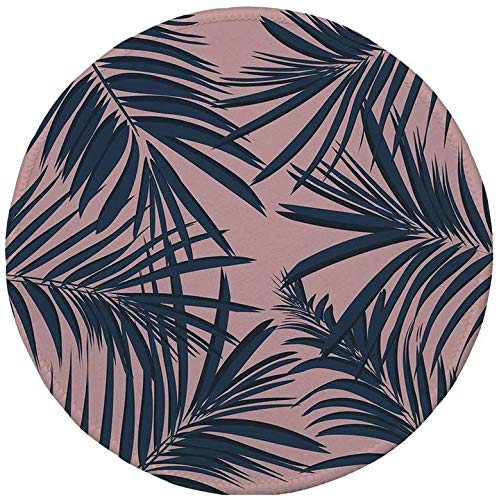 Rutschfreies Gummi-rundes Mauspad Navy und Rouge Sommer Exotic Floral Tropical Palm Tree Leaf...