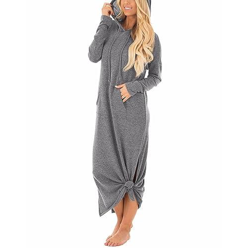 f4e2232dc4d GIKING Women s Casual Pockets Hoodies Long Sleeve Split Hooded Long Maxi  Dress