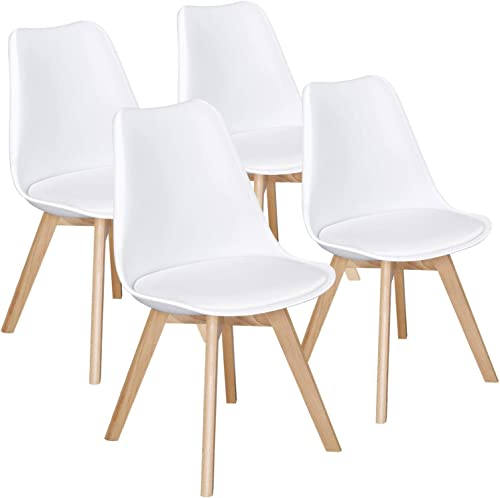 Yaheetech Dining Chairs DSW Chair Tulip Chair Shell PU Side Chair with Beech Wood Legs Modern Mid Century Eiffel Insp...