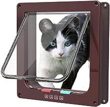 Sailnovo Puerta Magnética Segura para Gatos Perros Mascotas , 4 Vías de Bloqueo Instalar Ligero con Marco Telescópico 23.5 * 25 * 5.4 cm