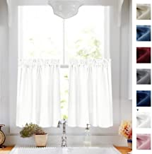 White Tier Curtains Semi Sheer Short Curtains Kitchen Casual Weave Cafe Curtains Half Window Treatments 2 Panels 24