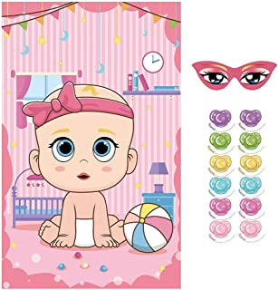 VEYLIN Pin The Pacifier On The Baby Game, Pin The Dummy On The Baby Game for Baby Shower (20x32 inches Pink)