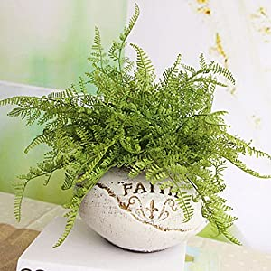 Springdoit Nearly Natural Fake Plastic Artificial Fern with Wicker Decorative Silk Plant Arrangements Simulation Greenery Bushes Indoor Outside Home Garden Office Verandah, Green