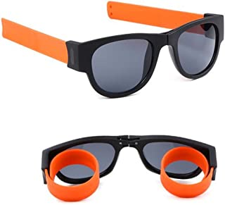 Folding Sports Sunglasses,Handy Sunglasses,Bend Fold And Clip On Wrist/Ankle/Bike For Adults And Kids