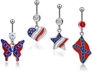 HoBST Stainless Steel Sexy Dangle Heart Star Flag Belly Button Rings for Men Women Girls Body Piercing Jewelry Set