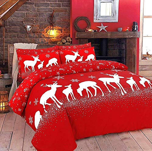 AdamLinens Christmas Duvet Cover Bedding Bed Set, Quilt Cover With Pillowcases - December - Super King