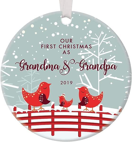 Our First Christmas As Grandma Grandpa 2019 Ornament New Grandparents Cute Red Bird Family Nana Pop Pop Newborn Grandchild Keepsake Present 3 Flat Circle Ceramic With White Ribbon Free Gift Box