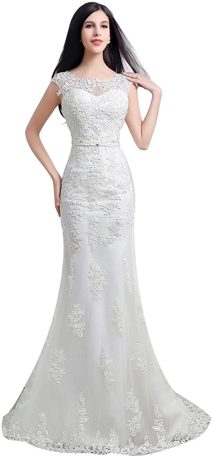 Aurora Bridal Women's Lace Mermaid Long Wedding Dresses 2016 for Bride