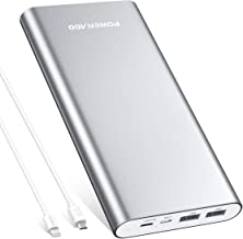 POWERADD Pliot 4GS Plus 20000mAh External Battery Pack 8-Pin Micro Input Power Bank 3.6A Fast Charger for iPhone, iPad, Samsung, LG and More - Silver (MFi 8-Pin, Micro Cable Included)