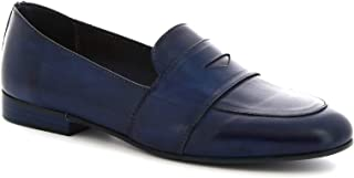Leonardo Shoes Mocassini Slip-on Artigianali da Donna in Pelle di Vitello Blu - Codice Modello: K 104 Bleu