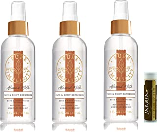 Bath & Body Works Pure Simplicity ALMOND MILK Face & Body Refresher Fragrance Mist Alcohol Free Hypoallergenic - 3 Pack with a Jarosa Bee Organic Chocolate Bliss Lip Balm and a Bonus Bag, Tag & Ribbon