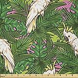 Lunarable Papageien-Stoff von The Yard, gelber Kakadu mit