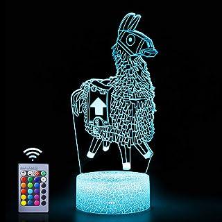 Lampe de chevet Llama Illusion - 16 couleurs changeantes - Interrupteur tactile - Télécommande - Décoration de Noël ou d'a...