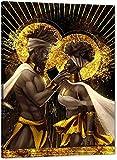 YuFeng Art Inn Modern Wall Poster Art Print Oil Painting on Canvas Home Decor Wall Decoration Canvas Art African King Queen Wall Art Black Gold Art Sexy Lover Couple (Unframed-No Framed,16x24inch)