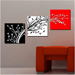 RUIMA 3 Panel Printed Abstract Still Life Black White Red Tree Oil Painting Cuadros Home Decor Canvas Art Unframed living ...