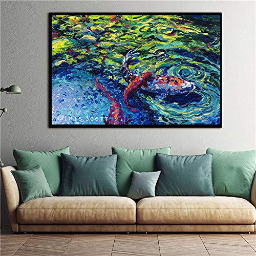 N / A Quadro su Tela Koi Fish Lotus Lamina d'oro e Modulare Pittura a Olio Soggiorno Soggiorno Murale Senza Cornice 30X40 CM