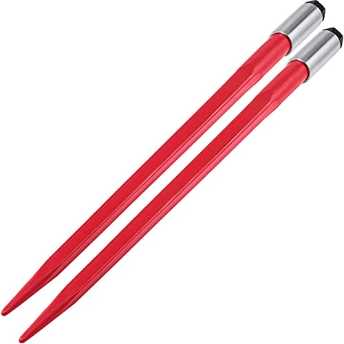"""high quality Mophorn Pair Hay Spear 43"""" Bale Spear 3000 new arrival lbs online Capacity, Bale Spike Quick Attach Square Hay Bale Spears 1 3/4"""", Red Coated Bale Forks, Bale Hay Spike with Hex Nut & Sleeve for Buckets Tractors Loaders outlet online sale"""
