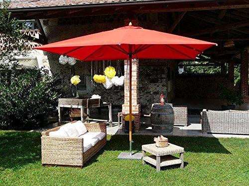 PEGANE Parasol carré en tessu PolyMa, Couleur Bordeaux - Dim : H 280 x D 300x300/ 8 Baleines