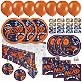 Mega Nerf Birthday Party Supplies, Decorations, and Favors, Serves 16 Guests, Easy Setup and Takedown with Plates, Napkins, and More