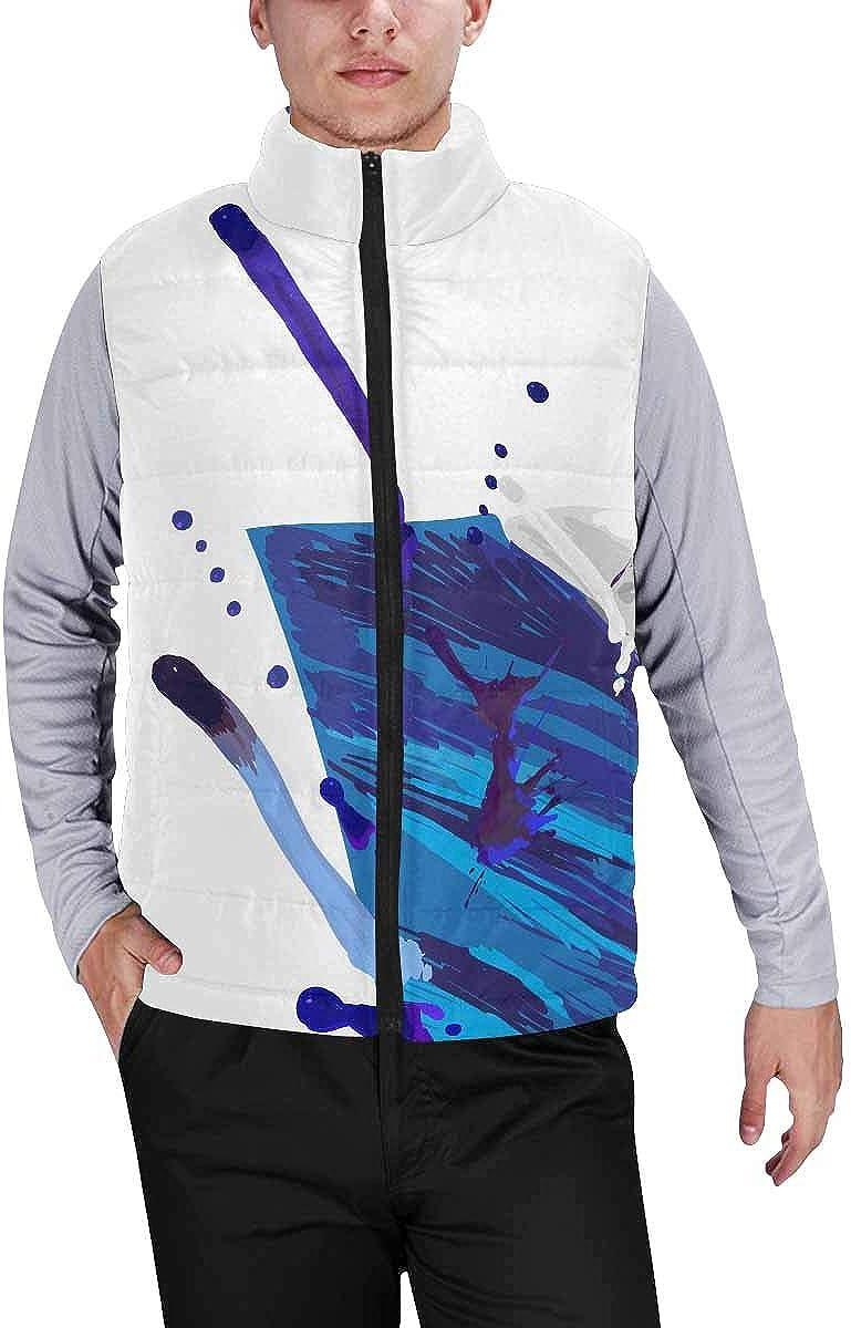 InterestPrint Men's Winter Full-Zip Outwear Padded Vest Coats Forest Mushrooms