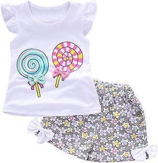 6b8cabd67 Ropa Bebe Niña Verano 2019 SHOBDW Tops+Pantalones Cortos Floral Conjuntos Bebé  Niña Recién Nacida