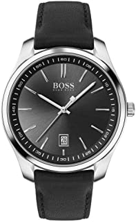 Hugo Boss Black Mens Quartz Watch, Analog Display and Leather Strap 1513729