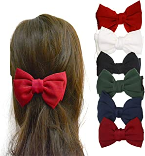 6 Pack Solid Color 5.2'' Bow Clips Girls' Hair Barrettes Women Hair Accessories