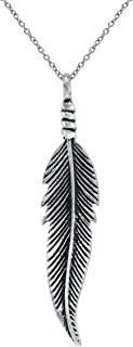 Sterling Silver Freedom Feather Pendant Necklace, 18