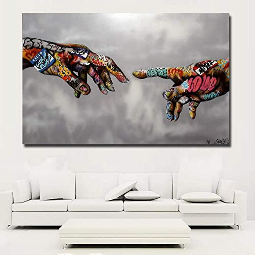 Faicai Art Classic Street Art Banksy Graffiti Paintings Canvas Wall Art Adam Hand of God Pop Art Prints Posters Abstr...