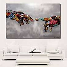 Faicai Art Classic Street Art Banksy Graffiti Paintings Canvas Wall Art Adam Hand of God Pop Art Prints Posters Abstract Colorful Modern Wall Decor Pictures Home Office Decor Framed 32