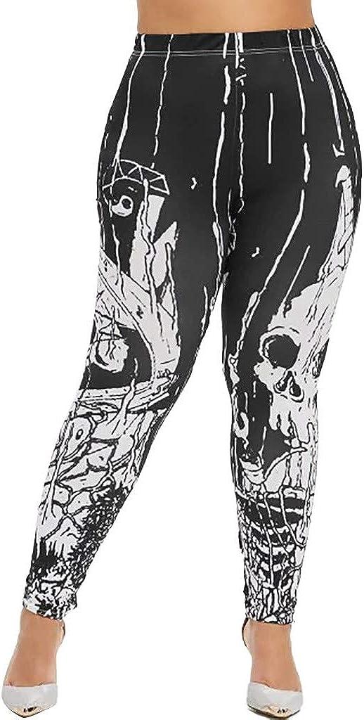 aihihe Max 67% OFF Dedication Women Halloween Legging Plus Size Elastic Printed S Ankle
