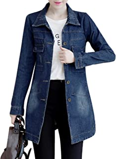 Yeokou Women's Casual Slim Fit Mid Long Button Down Jean Denim Jacket Coat Tops