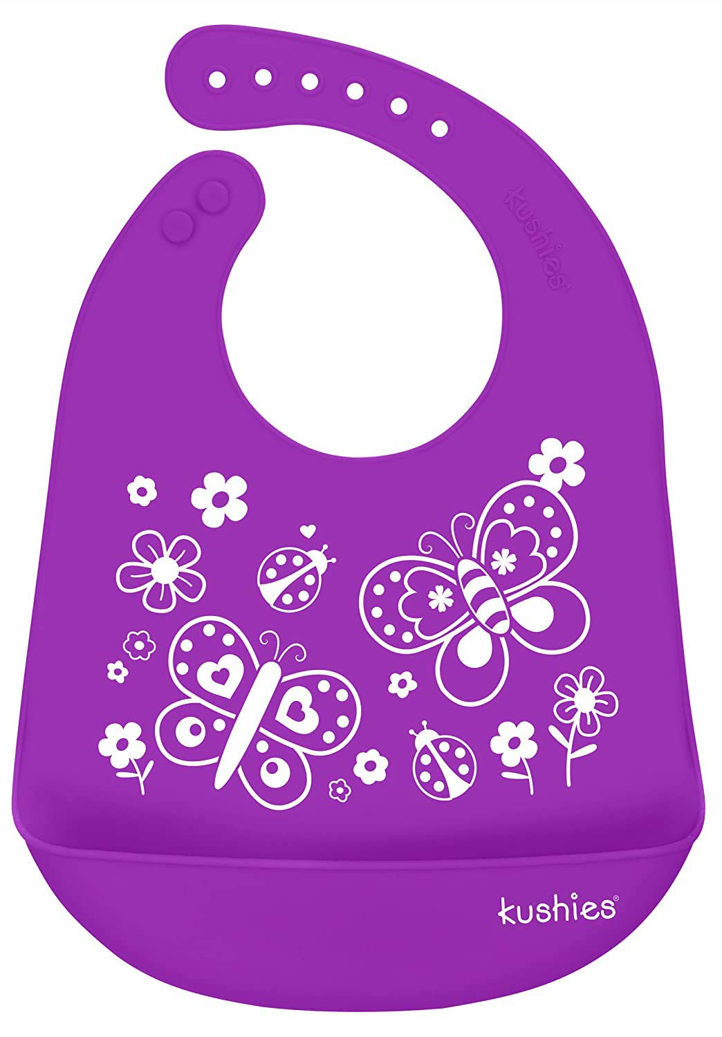 Kushies Silicatch Super Soft Silicone Waterproof Feeding Bib with Catch All/Crumb Catcher, Violet, 6m +