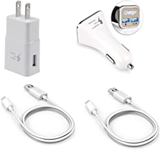 For Samsung Galaxy S8/ S8 Plus Adaptive Fast Charger Type-C 2.0 Cable Kit by RKINC {1 Wall Charger+ 1 Car Charger + 2 Type-C Cables} Adaptive Fast Charging dual voltages for up to 50% faster charging!