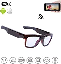 WiFi Live Streaming Video Sunglasses, Streaming Videos & Photos from Glasses to Mobile Phone by App with Ultra Full HD Camera, Built-in 64GB Memory and Blue Light Blocking Glasses for Gaming, Reading