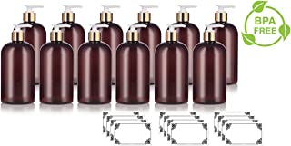 Amber 16 oz Boston Round PET Bottles (BPA Free) with Gold Lotion Pump (12 pack) + Labels
