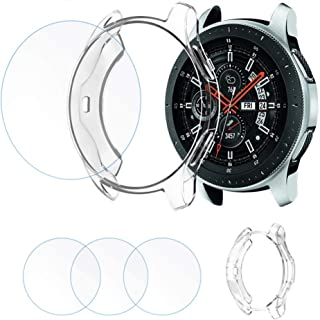 FINENIC Compatible with Samsung Galaxy Watch (42mm) Screen Protector Case*1 Tempered Glass Screen Protector*3
