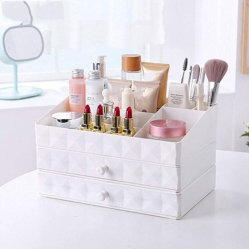 グラマー恐ろしい動的3層化粧品収納ボックス、引き出しプラスチック棚、多機能収納棚、ピンク収納 (Color : White)