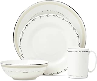 Kate Spade New York Union Square Taupe Dinnerware 4-Piece Place Setting, White and Taupe Porcelain